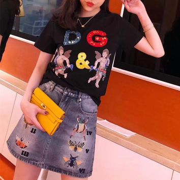 """Dolce & Gabbana"" Women Casual Fashion Beading Letter Cute Wings Small People Print Short Sleeve T-shirt Top Tee"