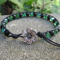 Green and Black Wrap Bracelet