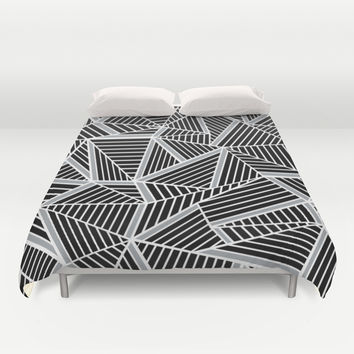 Ab lines Zoom Black and Silver Duvet Cover by Project M