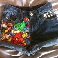 On(SALE) The AVENGERS Marvel Studded Cuffed Jean Shorts Size 24