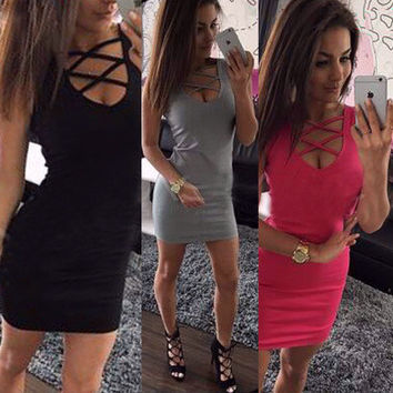 2017 Trending Fashion Hollow Bandage Sexy Slim Nightclub Clubbing Party One Piece Dress _ 10785
