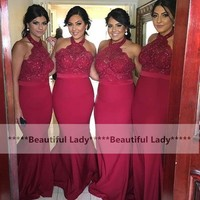 Charming Burgundy Mermaid Prom Dresses Halter Backless Beaded Chiffon Long Prom Gowns 2016 Cheap Wedding Party Dress
