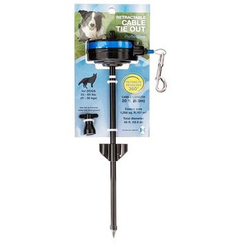 Lixit® 30-8401-006 Retractable Cable Tie Out with Stake for Dogs 25-80 Lb, Medium