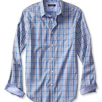 Tailored Slim Fit Soft Wash Gray Plaid Shirt