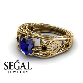 Unique Engagement Ring 14K Yellow Gold Flowers Leafs Vintage Art Deco Ring Sapphire With Black Diamond - Alexis