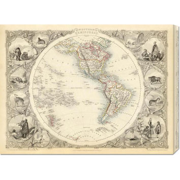 Global Gallery GCS29560930142 Western Hemisphere, 1851 by R.M. Martin: 30 x 22.44 Canvas Giclees, Wall Art