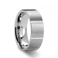 EDMONDO Flat Brush Finish with Horizontal Grooves Tungsten Wedding Band