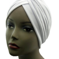 Turban WHITE Twist pleated Hair Wrap stretch turban Women's Head Wrap Cap Cover