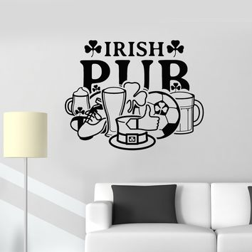 Vinyl Wall Decal Irish Pub Sign Window Ireland Symbol Bar Decoration Art Stickers Mural (ig5424)