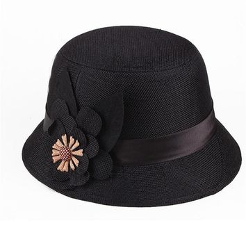 Linen Hat Summer Spring Straw Fedora Hats for Women Vintage Western Bucket Hats for Women Female Bowler Hats with Flower AD574
