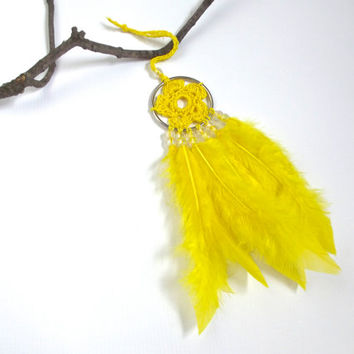 Yellow Dream Catcher Yellow Dreamcatcher Yellow Feather Dream Catcher Wall Hanging Crochet Dream Catcher Crochet Flower Small Dream Catcher