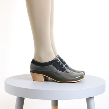 Womens shoes gray patent leather and suede oxford style handmade ADIKILAV,On Sale 20%