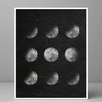 Moon Phases poster Moon Poster moon decor Galaxy Sky Space Moon Print Astronomy Poster luna phases Full Moon Black and White Moon Art rustic