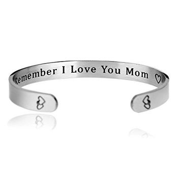 Nzztont Remember I Love You Mom Cuff Bangle Bracelet Mom Gift From Daughter Son For Motherrsquos Day