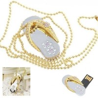 Crystal Diamond Slipper Jewelry USB Flash Drive with Necklace:8GB(Gold)