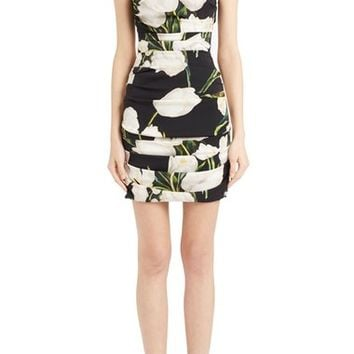 Dolce&Gabbana Ruched Tulip Print Stretch Silk Charmeuse Dress | Nordstrom