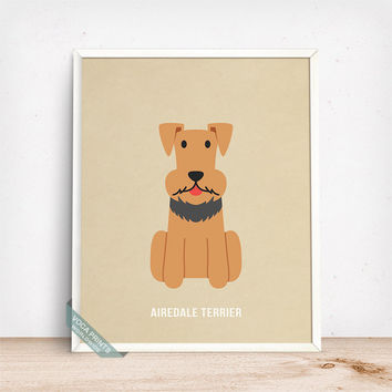 Airedale Terrier Print, Airedale Terrier Poster, Dog Print, Dog Breed, Waterside Terrier, Airedale, Dog Art, Dog Poster, Fathers Day Gift