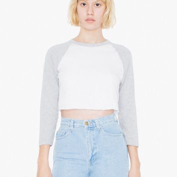 Poly-Cotton Cropped 3/4 Sleeve Raglan | American Apparel
