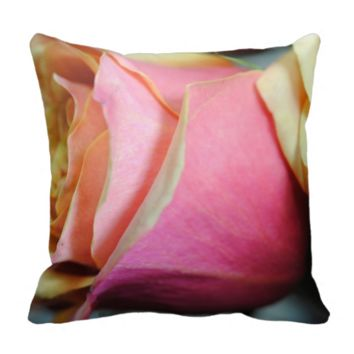 Pastel Pink and yellow Rose Throw Pillow