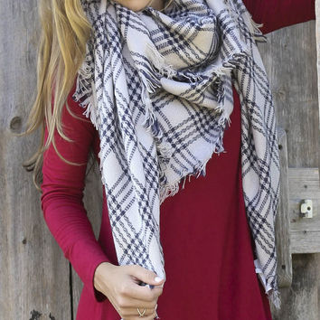 Calm Sea Gray & Navy Blanket Scarf