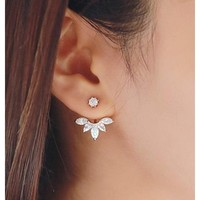 Leaf Ear Jacket Earrings