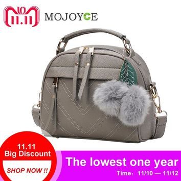 Fashion PU Leather Handbag for Women 2018 New Girl Messenger Bags with Ball Toy Bolsa Female Shoulder Bags Ladies Party Handbags
