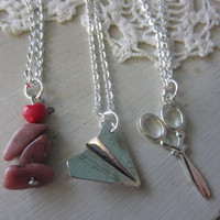 Three best friends Silver Necklaces-Rock,paper, scissors