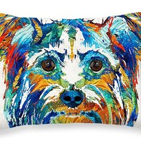 """Colorful Yorkie Dog Art - Yorkshire Terrier - By Sharon Cummings Throw Pillow 20"""" x 14"""""""