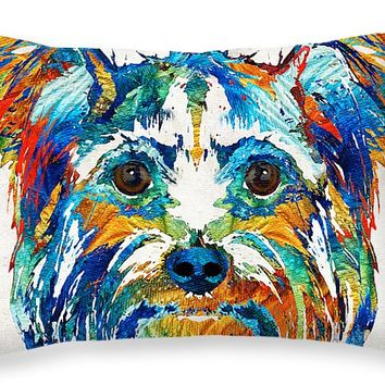 "Colorful Yorkie Dog Art - Yorkshire Terrier - By Sharon Cummings Throw Pillow 20"" x 14"""