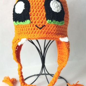 Charmander Inspired Beanie, Charmander Hat, Crochet Pickachu Beanie, Birthday Gift for Boys, Baby outfits for pictures, Pokemon Go Hat