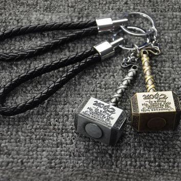 CREYHY3 Hot Marvel Thor Hammer The Avengers Mjolnir Figure Car Keychain Car Styling Purse Bag Backpack Key Rings Pendant Car Accessories