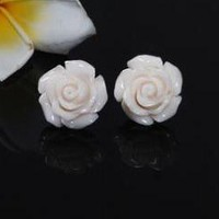 Fashion White Rose Flower Earrings