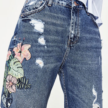 HIGH - RISE EMBROIDERED MOM FIT JEANS-NEW IN-TRF | ZARA United States