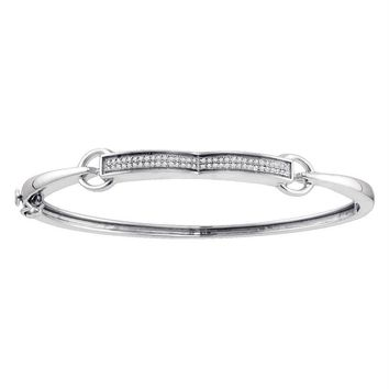 Sterling Silver Women's Round Diamond Single Row Bangle Bracelet 1-5 Cttw - FREE Shipping (US/CAN)
