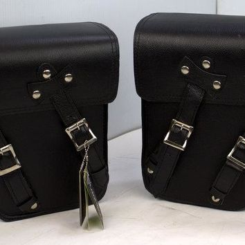 Motorcycle Leather Solo Right Side and Left Side Bag For Harley Dyna Models Black New