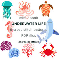 ebook 9 cross stitch patterns, Underwater Life, PDF xstitch patterns, modern cross stitch, Crab, Coral, Seahorse, Shark, galabornpatterns