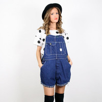 Vintage Overalls Denim Overall Shorts Romper Jean Shorts Cut Off Denim Cut Offs Playsuit Jumper Grunge Shortalls 70s Urban Upcycled M L
