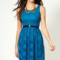 Polly Sleeveless Belted Lace Skater Dress