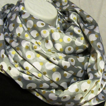 Silver with White and Gold Dots Infinity Scarf by GBSCreations