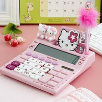2018 12 digits solar cute hello kitty calculator solar calculator with pen and notebook