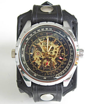 Black Leather Watch, Mechanical Watch, Mens Watch, Mens Wrist Watch, Gift