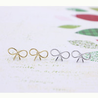 Ribbon earrings with sterling silver post, silver or gold tone