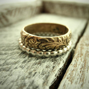 Romantic Antique Rustic Gold & Silver Ring Set w by palefishny