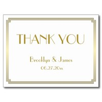 Gatsby Art Deco White Wedding Thank You Postcards