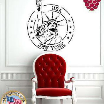 Wall Stickers Vinyl Decal  Grunge Rubber Stamp New York Statue Liberty  Unique Gift EM607