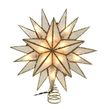 Tree Topper Finial GOLD CAPIZ STAR TREETOPPER Illuminated Electric Ul3146