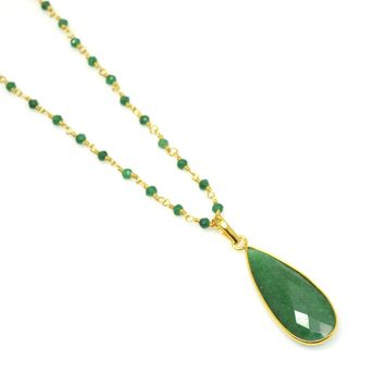 Green Onyx and Gold Rosary Chain-Choose Your Length