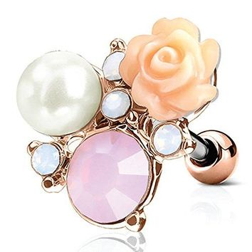 BodyJ4You Tragus Ball Piercing Rose Flower CZ Stud Earring 16G Rose Goldtone Surgical Steel Helix Barbell