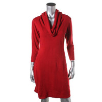 Connected Apparel Womens Petites Knit Cowl Neck Sweaterdress