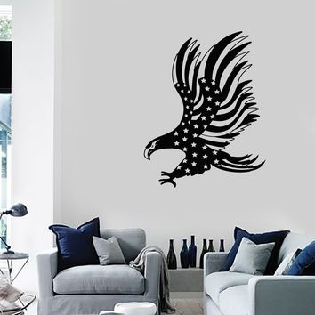 Vinyl Wall Decal American Bald Eagle Flag Patriotic Decoration Room Art Stickers Mural (ig5471)